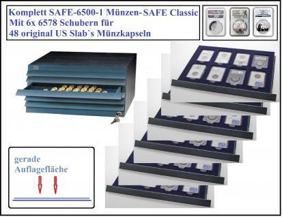 SAFE 6500-2 Classic Holz Möbelelement mit 6 Schubern 6578 Für 48 original US Slab Münzkapseln
