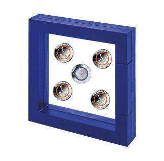SAFE 4501 3D Schweberahmen - Presenter - Frame Universum Blau Innen 100 x 100 mm Ideal für Geocoins & TBs Travel Bugs & Geocaching