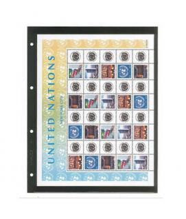 10 x LINDNER 4101 Einsteckhüllen Ergänzungsblätter Publica L A4 1 Tasche Schwarz 297 x 220 mm Für Banknoten - Briefmarken - Briefe - Fotos - Bilder - Urkunden - Vorschau 1