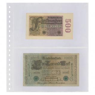 10 x LINDNER 850P Klarsichthüllen Banknotenhüllen 2 Taschen Streifen 240 x 140 mm mit schwarzen Zwischenblättern