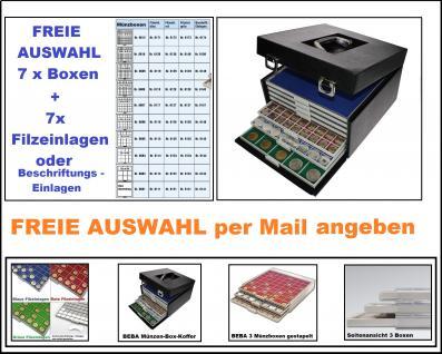 SAFE 6325 BEBA Maxi Münzkoffer + 7 komplette Beba Münzboxen 6601 - 6612 + Filzeinlagen o. Kartoneinlagen FREIE AUSWAHL