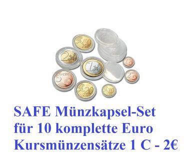 80 SAFE 6790XL Münzkapseln Set 16, 5 - 19 - 20 - 21, 5 - 22, 5 - 23, 5 - 24, 5 - 26 mm Für 10 komplette EUROMÜNZEN KMS Sätze 1, 2, 5, 10, 20, 50 Cent & 1, 2 Euromünzen Kursmünzensätze