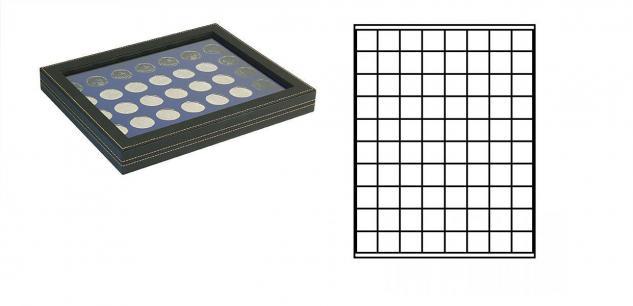 LINDNER 2367-2180ME Nera M PLUS Münzkassetten Einlage Marine Blau mit glasklarem Sichtfenster 80 Fächer für Münzen bis 24 x 24 mm - 1 DM Euro Mark DDR 1 Goldmark