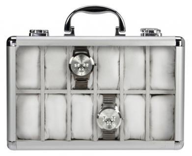 3 x SAFE 265 ALU Uhrenkoffer KLASSIK ROT - BLAU - WEISS - 36 Fächer Uhrenhaltern Fenster Schmuck Armbanduhren - Vorschau 2