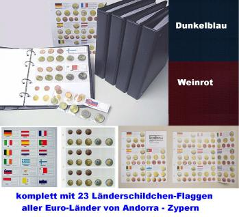 1 KOBRA FE24 Münzblätter Münzhüllen + weiße Zwischenblätter Für 3 komplette Euro KMS Kursmünzensätze + Länderschildchen mit Flaggen - Vorschau 3