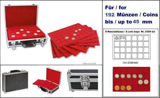 LINDNER 2338-192 MÜNZKOFFER im schwarzen Alu Design + 8 roten Tableaus 2329-24 für 192 Münzen bis 45 mm Ideal für Große Unzen Münzen