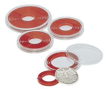 10 x LINDNER 2230P Münzenbox Kapseln Münzkapseln mit hellroten Inlett klein 16 - 39 mm - Vorschau 4