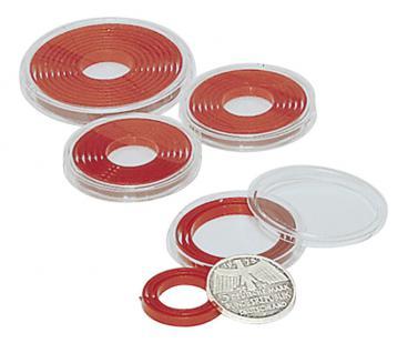 2 x LINDNER 2231P Münzenbox Kapseln Münzkapseln mit hellroten Inlett groß 16 - 51 mm - Vorschau 4