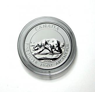 5 x LINDNER S2255384P Münzkapseln / Münzenkapseln Capsules Caps 38, 4 mm 1 1/2 Unzen Polar Bear Canada / Kanada - Vorschau 1