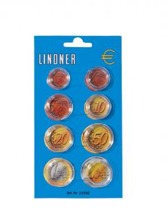 1 x Lindner 2250E Münzkapseldisplay 8 Münzkapseln für Euro Kursmünzen Satz KMS 1 2 5 10 20 50 - 1 2 Euro