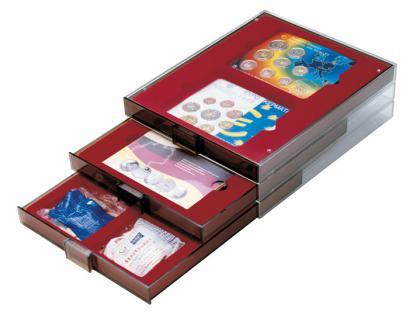 Lindner 2856 D-Box Münzboxen Sammelboxen für 6 Münzen 85 x 85 x 22 mm dunkelrot Rauchglas - Vorschau 3