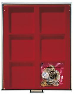 Lindner 2856 D-Box Münzboxen Sammelboxen für 6 Münzen 85 x 85 x 22 mm dunkelrot Rauchglas - Vorschau 2