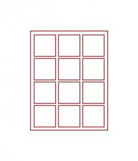 Lindner 2862 D-box Münzboxen Sammelboxen für 12 Münzen 66 x 66 x 22 mm dunkelrot Rauchglas