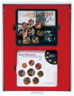 Lindner 2805 D-Box Münzboxen Sammelboxen für 2 x 5 original Deutsche EURO Kursmünzensätze KMS Stempelglanz hellrot Standard Grau - Vorschau 1