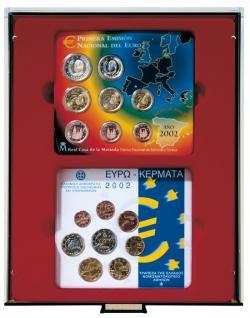 indner 2855 D-Box Münzboxen Sammelboxen für 2 x 5 original Deutsche EURO Kursmünzensätze KMS Stempelglanz dunkelrot Rauchglas