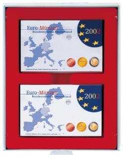 Lindner 2408 Münzboxen Sammelboxen 6 x original Euro Kursmünzensätze PP - 24 x DM KMS ST in Folie hellrot Standard Grau