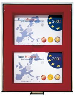 Lindner 2468 Münzboxen Sammelboxen 6 x original Euro Kursmünzensätze PP - 24 x DM KMS ST in Folie Rauchglas