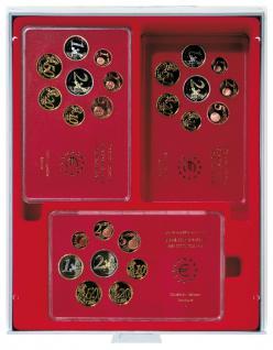 Lindner 2407 Münzboxen Sammelboxen 12 original Deutsche Euro - DM Kursmünzensätze PP Epalux hellrot Standard Grau