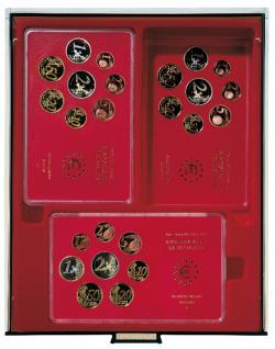 Lindner 2467 Münzboxen Sammelboxen 12 original Deutsche Euro - DM Kursmünzensätze PP Epalux dunkelrot Rauchglas