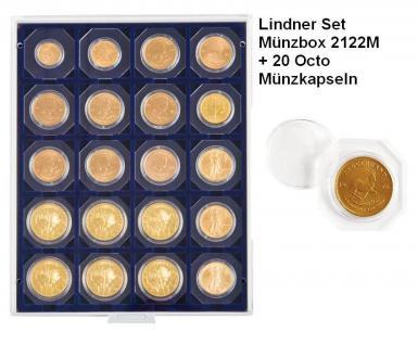 LINDNER Set 2122M Marine Blau Münzbox Münzboxen 20 x 50 mm + 20 OCTO Münzkapseln Freie Auswahl
