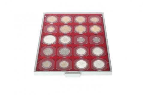 2 x Lindner OS024 OCTO Münzkapseln Set + 2 Münzenkapseln 24 mm Innendurchmesser für 1 DM Goldmark 5 ÖS Schillinge - Vorschau 4