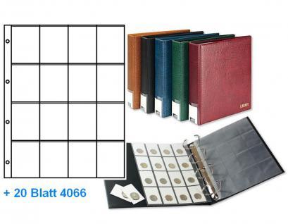 LINDNER 3506RC-W Weinrot Publica L Ringbinder + 20 Einsteckblätter Münzblätter Münzhüllen 4066 für RC - Rebeck Münzrähmchen