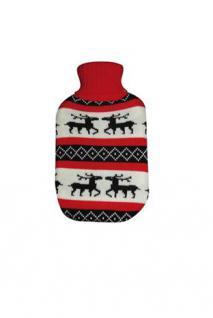 ALSS Wärmflaschen 1 Liter Schweden Elch mit Strickbezug Bettflasche - Rot Weiss Schwarzen Rollkragen Pullover Design