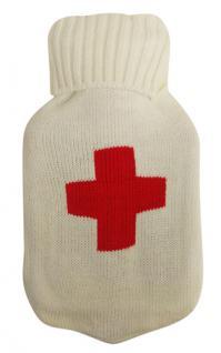 Wärmflasche Rotes Kreuz mit Strickbezug Bettflasche 1 Liter im Rot - Weiss Rollkragen Pullover