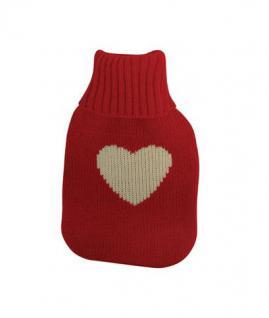 Wärmflasche Weisses Herz mit Strickbezug Bettflasche 1 Liter im Weiss Roten Rollkragen Pullover