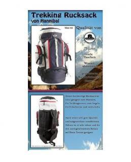 ALSS Hannibal SCHWARZ - GRAU 75 Liter Trekkingrucksack Ultralight XXL Rucksack Reiserucksack Outdoor Trecking Wandern Reise - Vorschau 2