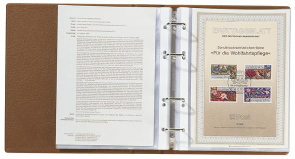 LINDNER 5600 - H ETB Album LOTOS Ringbinder Hellbraun Braun mit 50 Klarsichthüllen 5601 für Ersttagsblätter und DIN A5 Format - Vorschau 3