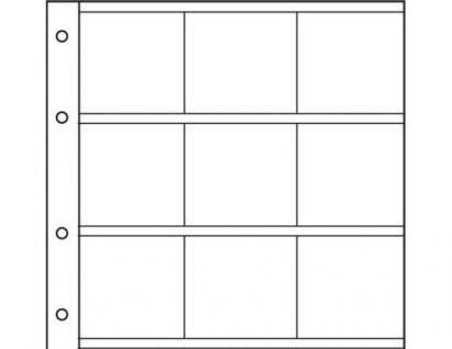 10 Hartberger 8312 Münzblätter SUPER 9 Felder für grosse Münzrähmchen 67 x 67 mm