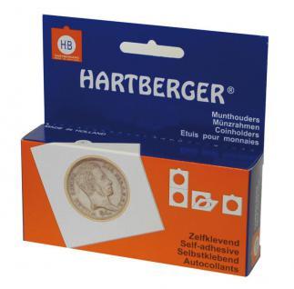 100 HARTBERGER Lindner Münzrähmchen 35 mm Selbstklebend 8322035