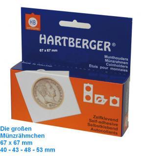 100 HARTBERGER Lindner Münzrähmchen XL 53 mm Selbstklebend 67 x 67 mm 8321053