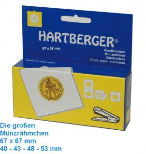 100 HARTBERGER Lindner Münzrähmchen XL 43 mm zum heften 67 x 67 mm 8331043