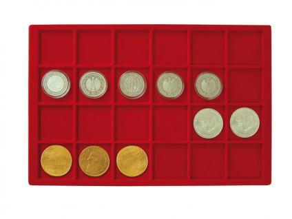 1 x LINDNER 2329-24 Münztableaus / Einlagen in Rot 24 Fächer bis 47 mm Ideal für US Silver Eagle $ Dollar in Münzkapseln