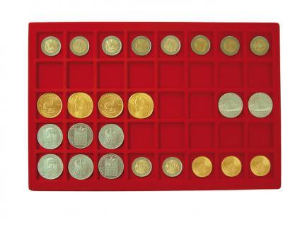 1 x LINDNER 2329-40 Münztableau Einlage 40 Münzen bis 34 mm Rot für 2 Euro in Münzkapseln & 10 Euro DM - Vorschau 1