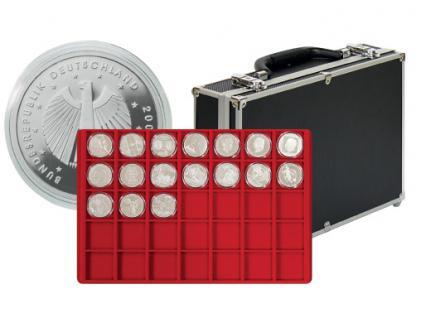 LINDNER 2338-280 MÜNZKOFFER Black Alu Design mit 8 Tableaus 2329-35 Für 280 Deutsche 10 - 20 Euro Gedenkmünzen in Münzkapseln 32, 5 - 32, 5 PP - 33 mm