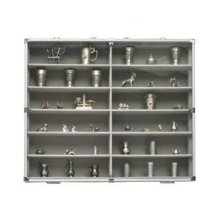 SAFE 5777 Alu Sammelvitrinen Vitrinen Setzkasten MAXI mit 12 Fächer in grau mit glasklarem Sichtfenster Für Mineralien Fossilien Kristalle Opale - Vorschau 3