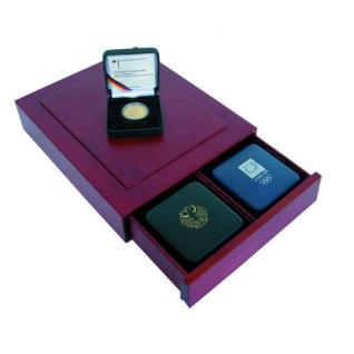 SAFE 6880 Holz Münzkassetten Setzkasten für Münzetuis 20 / 100 / 200 Goldeuro - 1 DM Gold