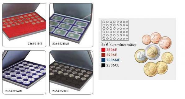 LINDNER 2364-2506CE Nera M Münzkassetten Einlage Carbo Schwarz für komplette 6 Euro Kursmünzensätze KMS 1 Cent - 2 Euro - Vorschau 2