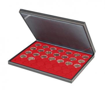 LINDNER 2364-2530E Nera M Münzkassetten Einlage Hellrot für 35 x Münzen bis 32 mm für 2 Euro in Münzkapsseln 26