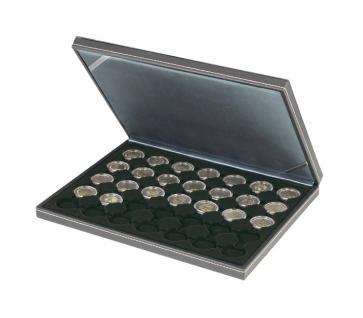 LINDNER 2364-2530CE Nera M Münzkassetten Einlage Carbo Schwarz für 35 x Münzen bis 32 mm für 2 Euro in Münzkapsseln 26