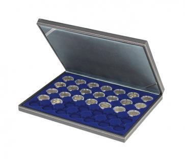 LINDNER 2364-2530ME Nera M Münzkassetten Einlage Marine Blau für 35 x Münzen bis 32 mm für 2 Euro in Münzkapsseln