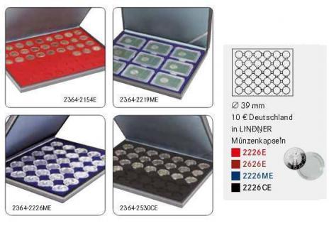 LINDNER 2364-2626E Nera M Münzkassetten Einlage Dunkelrot Rot für 30 x Münzen bis 39 mm & 10 Euro DM in Münzkapseln 33 mm - Vorschau 2