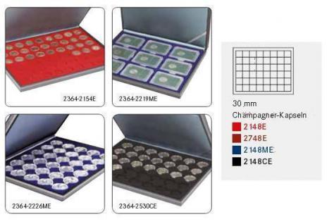 LINDNER 2364-2148ME Nera M Münzkassetten Einlage Marine Blau 48 Fächer für Münzen bis 30 x 30 mm - 5 DM Euro Mark DDR - Vorschau 2