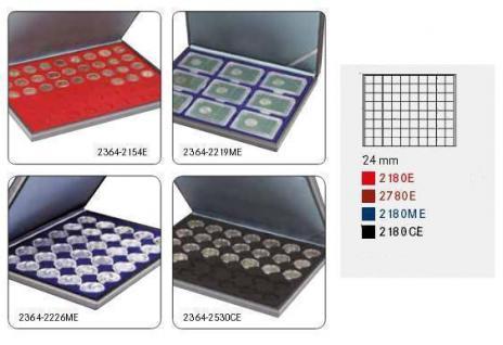 LINDNER 2364-2780E Nera M Münzkassetten Einlage Dunkelroter Rot 80 Fächer für Münzen bis 24 x 24 mm 1 DM Euro Mark DDR 1 Goldmark - Vorschau 2