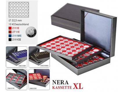 LINDNER 2365-2111CE Nera XL Münzkassetten mit 3 Carbo Schwarzen Einlagen 105 Fächer für Münzen bis 32, 50 mm für 10 Euro / DM - 20 Euro Gedenkmünzen - Vorschau 2