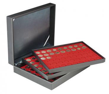 LINDNER 2365-2154E Nera M Münzkassetten 3 x Einlagen Hellrot 162 Fächer für Münzen bis 25, 75 mm ideal für 2 Euro