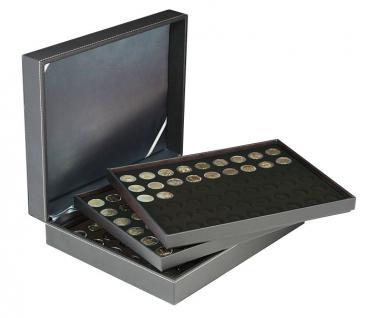 LINDNER 2365-2154CE Nera M Münzkassetten 3 x Einlagen Carbo Schwarz 162 Fächer für Münzen bis 25, 75 mm ideal für 2 Euro